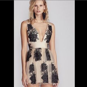 Free People Tulle Embroidered DeepV Beaded Party L